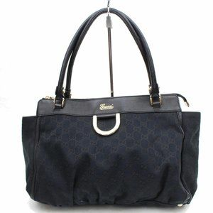Auth Gucci Handbag Black Canvas #3283G20